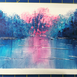 Acrylic painting of blue and pink trees reflected in water.